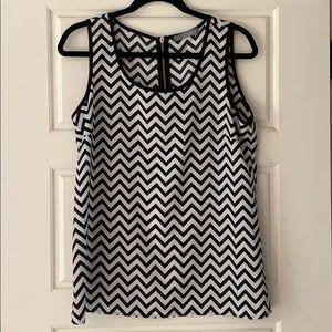 Black/white Chevron Print Sleeveless Top